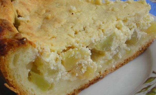 Домашняя выпечка. Яблочный пирог творожной начинкой.