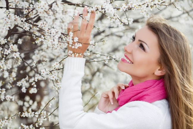 the facial skin in the spring